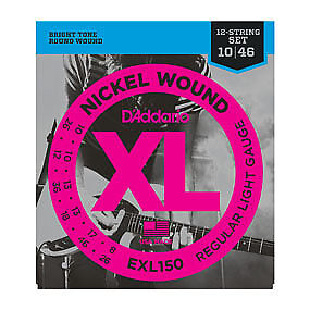 D'Addario EXL150 Regular Light 12-String Electric Guitar Strings .010-.046