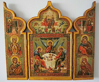 19c. RUSSIAN IMPERIAL ORTHODOX PALEKH ICON TRIPTYCH HOLY TRINITY GOLD CROSS EGG