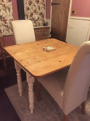 Antique Victorian Chic Folding Pine Wooden drop leaf Table