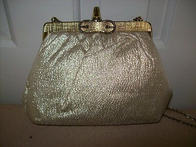 Vintage Gold Lame Evening Bag~Cocktail Purse~Shimmery~Versatile Chain~Circa 70S