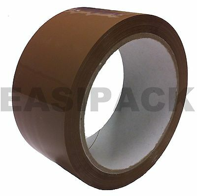 72 LARGE Rolls Of BROWN / BUFF Parcel Tape Packing Strong Packaging 48mm x 66m