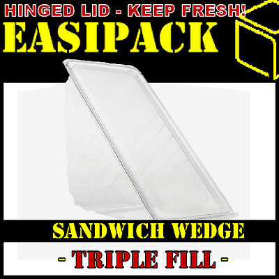 5000 x TRIPLE FILL Sandwich Wedges - Deli Hinged Plastic Catering Cafe -Clear