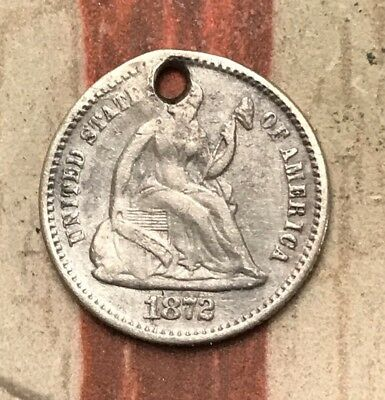 1872 5C Seated Liberty Half Dime 90% Silver Vintage US Coin #MP107 Sharp Appeal