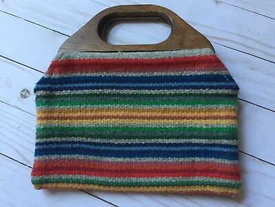 Vintage Chimayo Handbag Purse, Handwoven, Wooden Handle - Ortega's