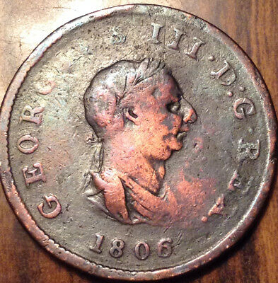 1806 Uk Gb Great Britain Half Penny - Cleaned