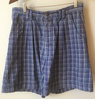 Liz Claiborne Women's Sz 8 Plaid Pleated High Waist Mom Jean Shorts Festival