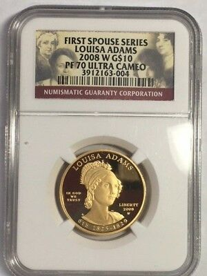 2008W, First Spouse Gold, Ngc Pf70 Ultra Cameo, Louisa Adams, Perfect Coin