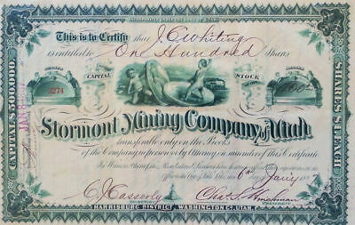 Stormont Mining Company of Utah Stock Certificate No. 3274, January 6, 1887