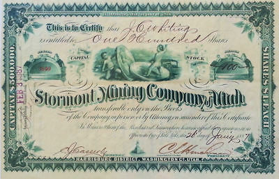 Stormont Mining Company of Utah Stock Certificate No. 3840, January 26, 1887