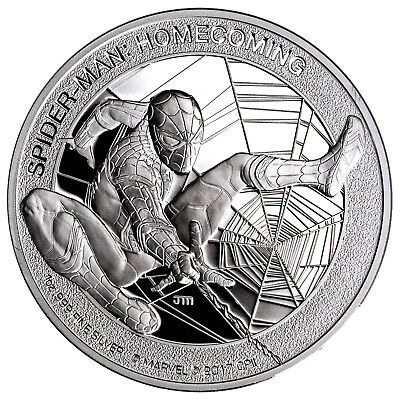 Spider-Man Marvel Homecoming 1 oz Silver Proof Coin Cook Islands 2017
