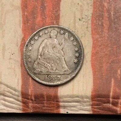 1857 5C Seated Liberty Half Dime 90% Silver Vintage US Coin #MP105 Nice Appeal