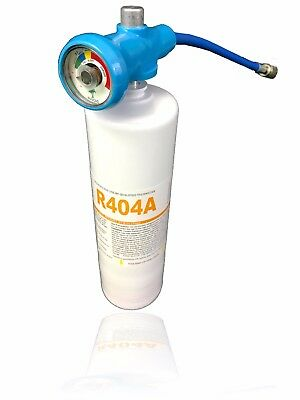 """R404A Refrigerant 27.8oz Disposable Canister with Gauge & 1/4"""" Hose"""