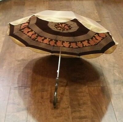 Vintage Double Layer Floral Umbrella Made in Italy Brown Roses Checkered Rare