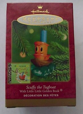 HALLMARK CHRISTMAS Ornament 2000 SCUFFY The TUGBOAT + Little Golden Book NEW