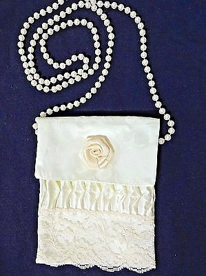 "Vintage Silk Purse Pouch w/Faux Pearl Handle 'Handmade by Elaine' 5.75"" X 4.25"""