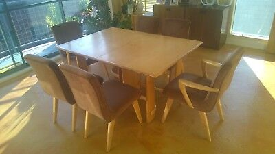 Heywood Wakefield Gilbert Rohde C293G Art Deco Extension Dining Table and Chairs