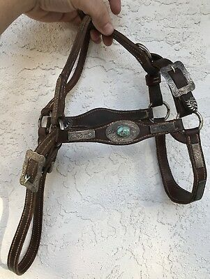 Vintage NAVAJO Etched Sterling Silver Royston Turquoise Western Headstall Halter