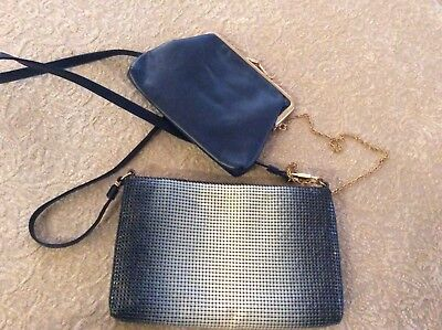 Vintage Whiting and Davis Dark Navy Blue Mesh Metal Purse Evening Bag 5 x 7.5