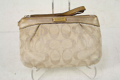 Coach Beige Light Signature Pleated Wristlet Purse