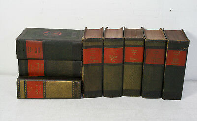 Lot Of 8  Early 1920'S Decorative Red And Green Spine Hardbound Leather Books