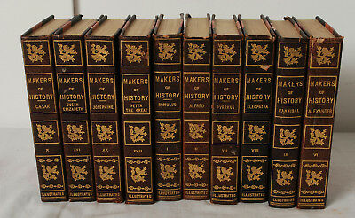 10 Antique Brown Leather Hard Cover Gift Decorative Binding Book Lot 1900'S