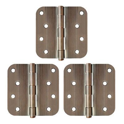 "4 Inch Oil Rubbed Bronze Interior Door Hinges with 5/8"" Radius Hinge (Pack of 3)"