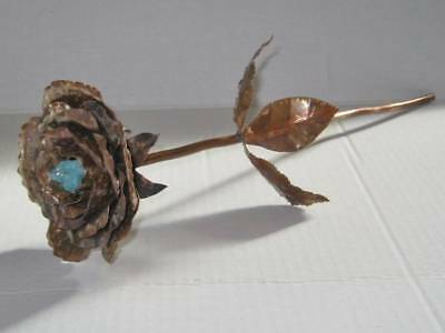 Copper Rose Blue Quartz Hand Crafted Lasts Forever Anniversary Wedding Gift Art