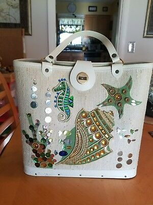 Vintage Jeweled Seascape Purse Seahorse Shells Fish Enid Collins Style Handbag