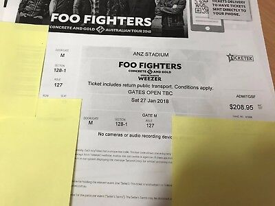 3 x Foo Fighter Concert tickets Sydney (COST PRICE ONLY) Sat 27th Jan