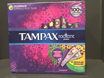 Tampax Radiant Plastic Unscented Tampons Regular/Super Plus Absorbency 42 Count