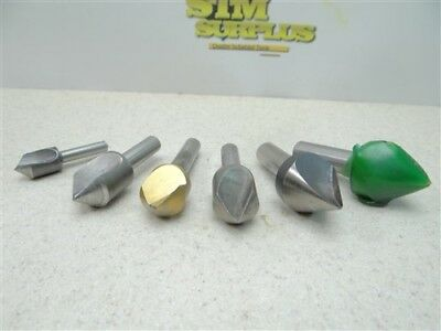 "Nice!! Lot Of 6 Assorted Hss Countersinks 1/2"" X 90° To 1"" X 60° Cleveland"