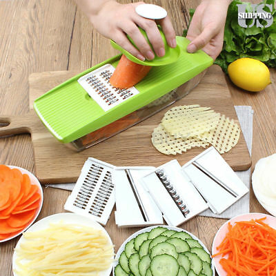 Adjustable Mandoline Vegetable Fruit Slicer Dicer Chopper Nicer Grater +5 Blades