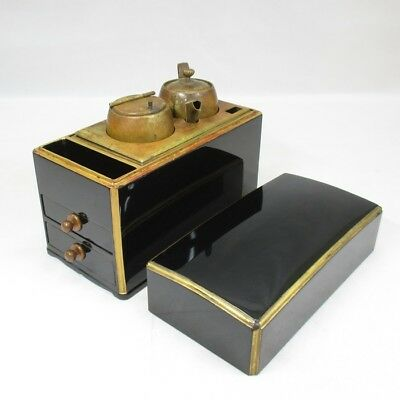 D233: Real old Japanese lacquerware box KYUSHI-BAKO with candlestick and oil pot