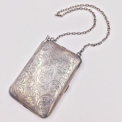 Antique Sterling Silver 3-Compartment Minaudiere Chatelaine Purse with Pencil