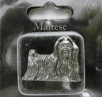 Little Gifts MALTESE Magnetic Charm Use With Magnet Photo Frame / New Silvertone