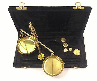 Jewelry Scale Vintage Precision Small Weight Brass Balance Black Velvet Case