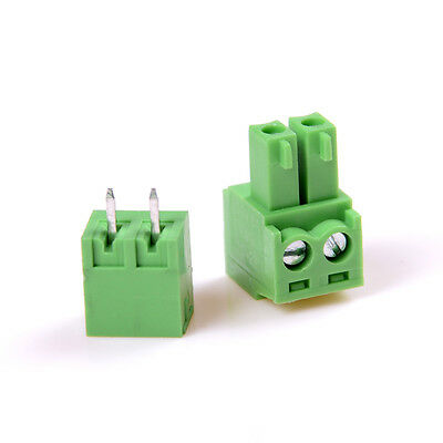 10pcs 2EDG 2Pin Plug-in Screw Terminal Block Connector 3.81mm Pitch Right Angle^