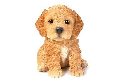 Sitting COCKAPOO Puppy Dog Life Like Realistic Statue Figure Home Garden Decor