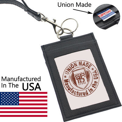 Union Made Leather Badge ID Card Holder & Lanyard - USA Manufactured Heavy Duty