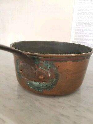 "Antique French Copper 7"" Sauce Pan & Cast Iron Handle Numbered- Great Patina!"