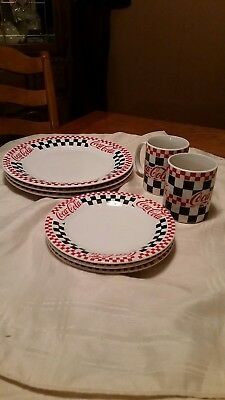 Coca Cola (3) Dinner Plate (3)Salad Plate and (2)Cups by Gibson