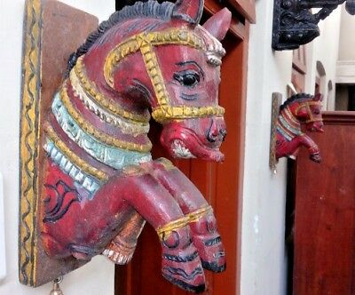 Wooden Corbel Wall Horse Bracket Pair Statue Vintage Handcarved Home Decor Rare
