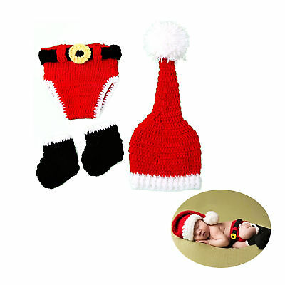 Santa Christmas Newborn Infant Baby Crochet Knitted Costume Hat Outfit Clothes