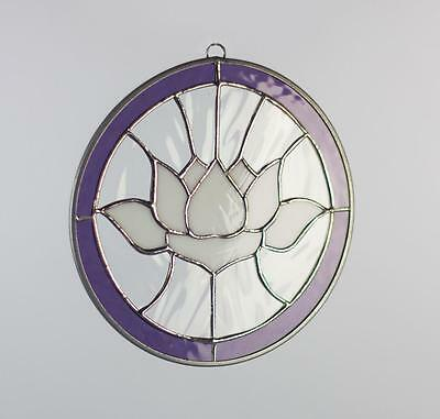 Lotus Flower Tiffany Style Stained Glass Window Suncatcher Round Hanging Handmad