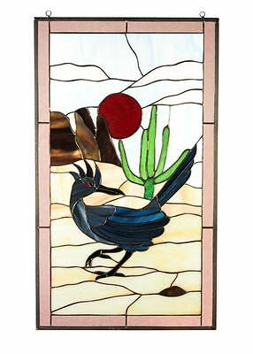 Road Runner Tiffany Style Stained Glass Window Panel Door w Metal Frame Handmade