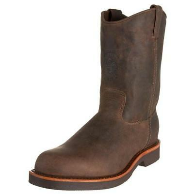 Chippewa 0069 Mens Brown Leather Pull On Work Boots Shoes 8 Medium (D) BHFO