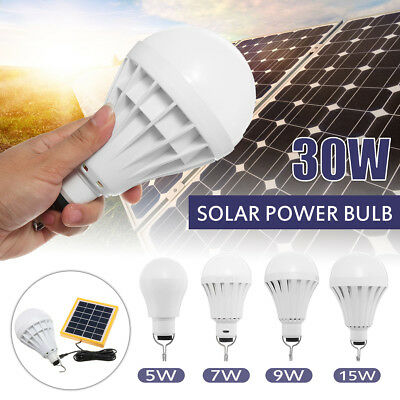 30W Solar Panel LED Light USB Powered Bulb Indoor Outdoor Camping Emergency Lamp
