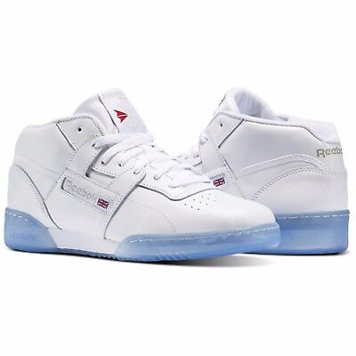 6ab7f98aa0a69b New Men s REEBOK Classics Workout Mid Ice - BS7445 - White Steel Red Sneaker