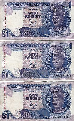 MALAYSIA 1 Ringgit  x 3 VF (ND 1986-95) Scarce notes / Bargain Price!