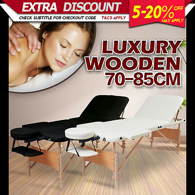 85cm Portable Wooden Massage Table 3 Fold Beauty Therapy Treatment Bed Black